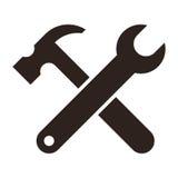 Moersleutel en hamer Het pictogram van hulpmiddelen Stock Afbeeldingen