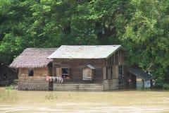 Moesson overstroming in Myanmar 2015 stock afbeelding