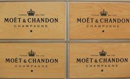 Moet和尚东香槟提出了在国家网球中心在美国公开赛期间2014年 免版税库存图片