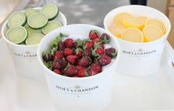 Moet和尚东香槟提出了在国家网球中心在美国公开赛期间2014年 免版税库存照片