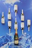 Moet en Chandon-champagne op het Nationale Tenniscentrum tijdens US Open 2014 wordt voorgesteld die Stock Afbeelding