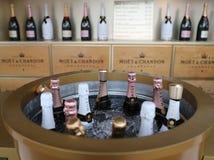 Moet en Chandon-champagne op het Nationale Tenniscentrum tijdens US Open 2016 wordt voorgesteld die Stock Foto's
