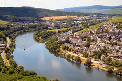 The Moezel river in Germany. The Moezel river and old town Bernkastel Kues in Germany Stock Photography