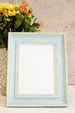 Mofa azul del marco para arriba, maqueta de Digitaces, maqueta de la exhibición, maqueta común diseñada mar de la fotografía, mof Foto de archivo