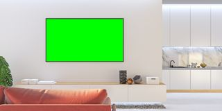 Mofa blanca de la sala de estar TV para arriba con el sofá, cocina, consola Imagen de archivo libre de regalías