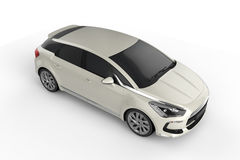 Mofa blanca del coche para arriba en el fondo blanco, ejemplo 3D Imagen de archivo libre de regalías