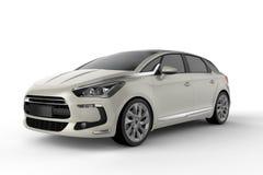 Mofa blanca del coche para arriba en el fondo blanco, ejemplo 3D Fotografía de archivo libre de regalías