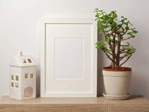 Mofa blanca del marco para arriba con la planta y la casa imágenes de archivo libres de regalías