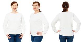 Mofa blanca en blanco de la camiseta encima de la vista aislada, delantera, trasera y lateral determinada Maqueta blanca de media fotos de archivo