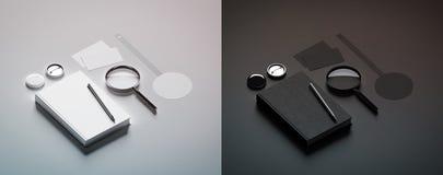 Mofa blanco y negro del diseño de la presentación del libro encima de elementos fotografía de archivo libre de regalías