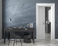 Mofa clásica del interior del lugar de trabajo del estilo para arriba con la pared de la pizarra, tabla, silla, puerta 3d rinden  Foto de archivo