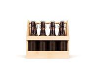 Mofa de la caja de madera de la cerveza para arriba aislada Cajón de madera foto de archivo