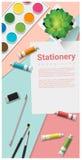 Mofa de la escena de los efectos de escritorio para arriba con las fuentes del arte en fondo colorido ilustración del vector