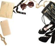 Mofa de la moda para arriba con los accesorios de la señora del negocio Compras femeninas Foto de archivo
