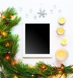 Mofa de la Navidad y del Año Nuevo para arriba Fotos de archivo