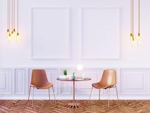 Mofa de la pared interior de la sala de estar para arriba en el fondo blanco, 3D representación, ejemplo 3D Fotos de archivo libres de regalías