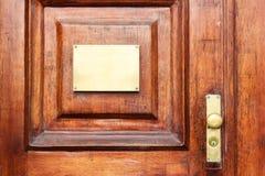 Mofa de la puerta encima del escritorio Plantilla/letrero ascendentes falsos fotografía de archivo