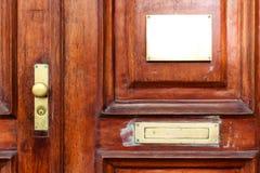 Mofa de la puerta encima del escritorio Plantilla/letrero ascendentes falsos foto de archivo libre de regalías