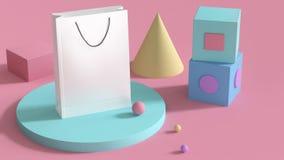 mofa del bolso del Libro Blanco encima del sistema colorido de la forma geométrica abstracta 3d en el fondo rosado 3d rendir conc libre illustration