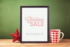 Mofa del cartel encima de la plantilla para la Navidad fotografía de archivo
