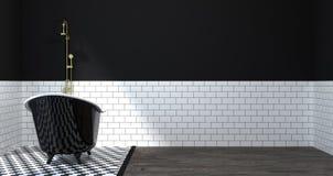 Mofa del cuarto de baño encima del interior, retrete, ducha, ejemplo limpio de la pared 3D del diseño casero moderno para el fond imagen de archivo libre de regalías