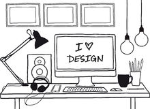 Mofa del estudio del diseño para arriba, vector Fotografía de archivo
