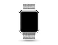 Mofa elegante de la pantalla en blanco del reloj para arriba aislada Reloj de acero de la mano imagen de archivo
