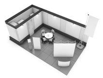 Mofa en blanco de la cabina de la feria profesional para arriba representación 3d Imagen de archivo