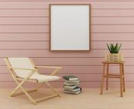 Mofa encima de la foto del marco con diseño de la silla y de la decoración de la tabla en la representación 3D Imagen de archivo libre de regalías