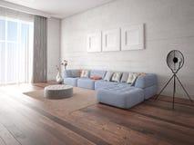 Mofa encima de la sala de estar espaciosa brillante con un sofá de la esquina elegante ilustración del vector