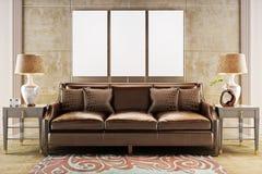 Mofa encima de los carteles con el sofá de cuero del sofá stock de ilustración