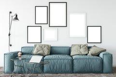 Mofa encima de los carteles en interior de la sala de estar Estilo escandinavo interior 3D representación, ejemplo 3D ilustración del vector