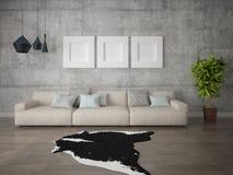 Mofa encima de una sala de estar brillante espaciosa con un sofá beige grande libre illustration