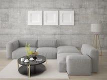 Mofa encima de una sala de estar brillante espaciosa con un sofá cómodo de la esquina ilustración del vector