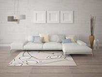 Mofa encima de una sala de estar espaciosa con un sofá de la esquina de moda ilustración del vector