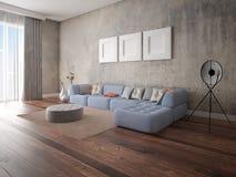 Mofa encima de una sala de estar espaciosa con un sof? de la esquina original ilustración del vector