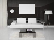 Mofa encima del cartel con un sofá moderno Imagenes de archivo