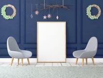 Mofa encima del cartel en interior de la Navidad ilustración 3D 3d rinden stock de ilustración
