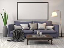 Mofa encima del marco del cartel en fondo interior ilustración 3D Imagenes de archivo