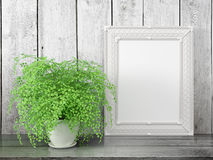 Mofa encima del marco en blanco representación 3d Imagen de archivo
