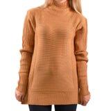 Mofa marrón clara en blanco del jersey para arriba aislada Maqueta femenina de la sudadera con capucha del llano del desgaste Pre Fotografía de archivo