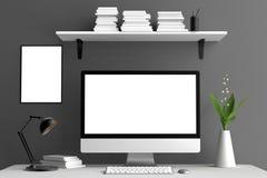 Mofa moderna del espacio de trabajo, de la pantalla de ordenador y del marco para arriba 3d ilustración del vector
