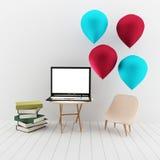 Mofa para arriba con el ordenador portátil en la representación 3D Foto de archivo libre de regalías
