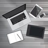 Mofa plana del diseño del espacio de trabajo de escritorio creativo de la oficina para arriba Imágenes de archivo libres de regalías