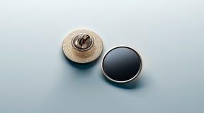 Mofa redonda negra en blanco de la insignia de la solapa del oro, frente y apoyar fotos de archivo libres de regalías