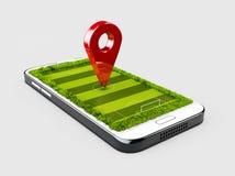 Mofa roja del color del perno del navegador de GPS para arriba con el estadio en fondo gris ilustración 3D Fotografía de archivo libre de regalías