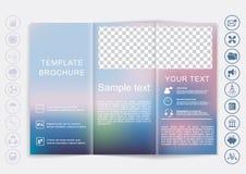 Mofa triple del folleto encima del diseño del vector Fondo unfocused liso del bokeh Imagenes de archivo
