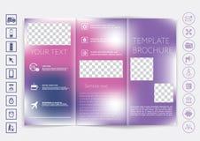 Mofa triple del folleto encima del diseño del vector Fondo unfocused liso del bokeh Fotografía de archivo