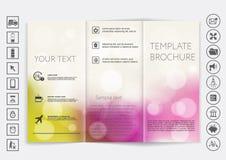 Mofa triple del folleto encima del diseño del vector Fondo unfocused liso del bokeh Fotografía de archivo libre de regalías