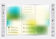 Mofa triple del folleto encima del diseño del vector Fondo unfocused liso del bokeh Foto de archivo libre de regalías